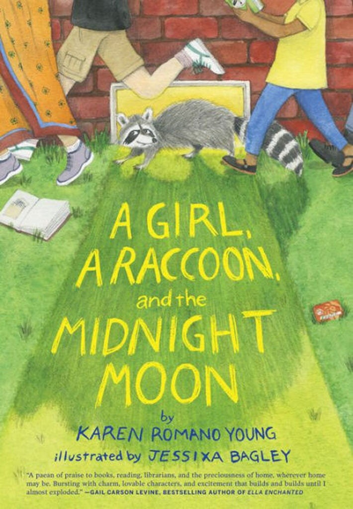 "Cover: ""A Girl, a Raccoon, and the Midnight Moon"" by Karen Romano Young."