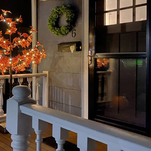 Porch with decorations.