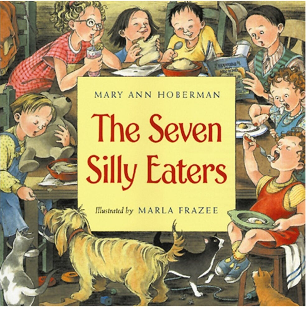 "Cover of ""The Seven Silly Eaters"" by Mary Ann Hoberman."