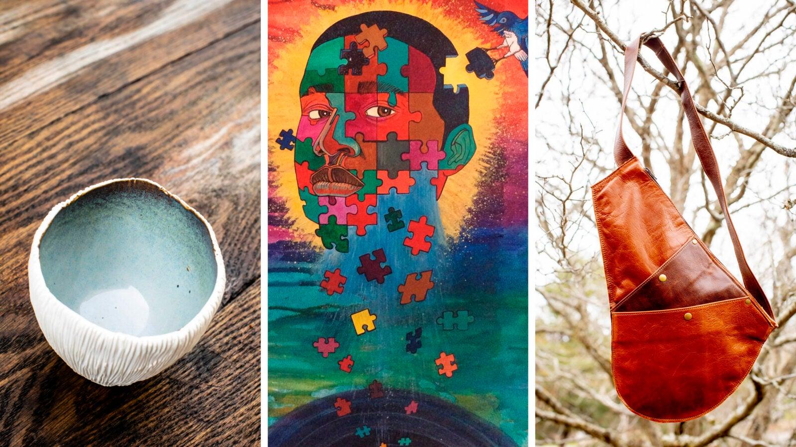 Triptych of art.