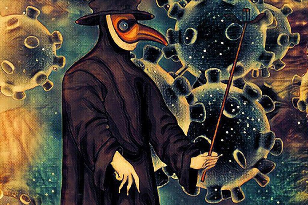 Illustration of plague doctor and coronavirus.