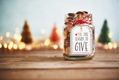 It's the season to give. Donation jar