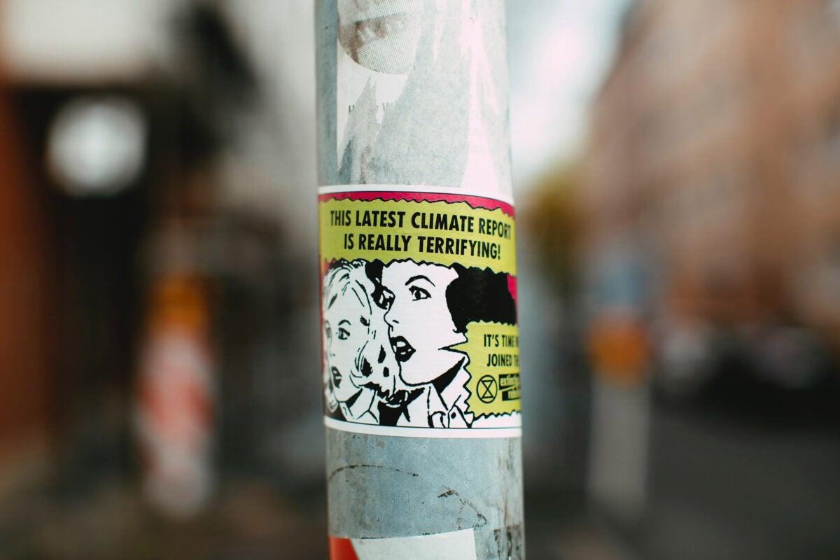 Pole with sticker.