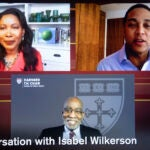 Isabel Wilkerson and othes on Zoom screen.