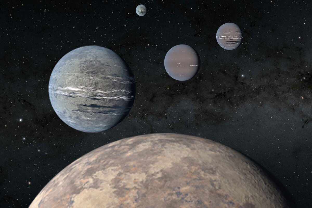Artist rendering of three exoplanets.