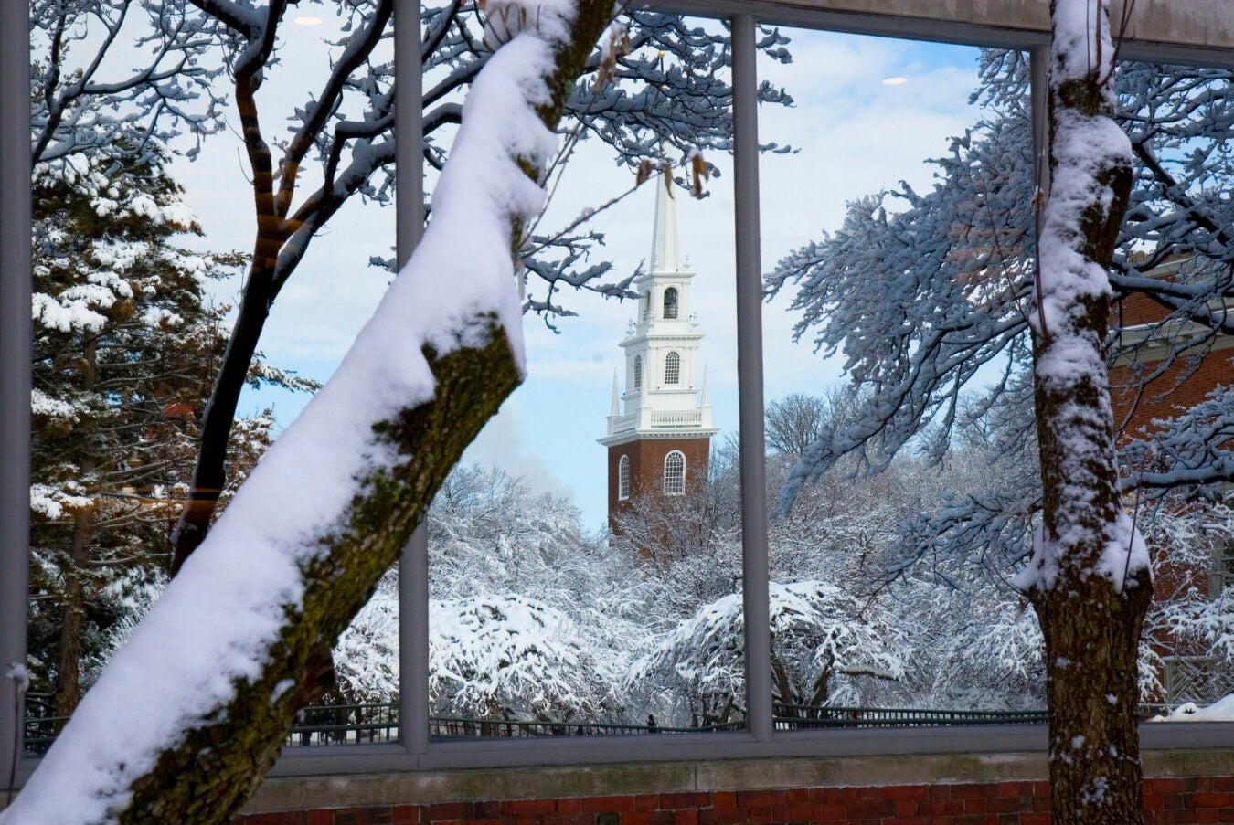 Memorial Church in snow.