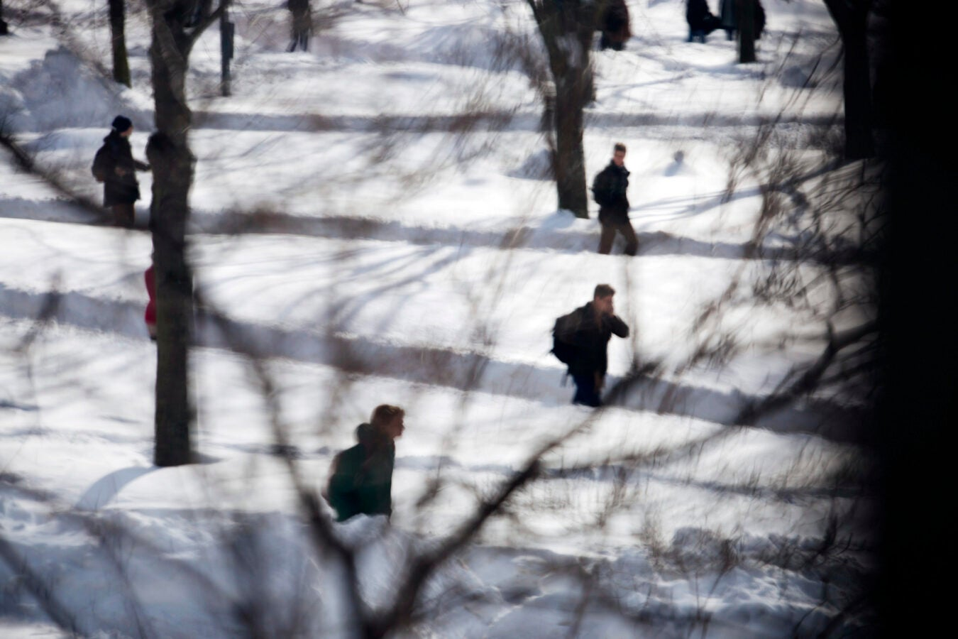 Students walking in snow.