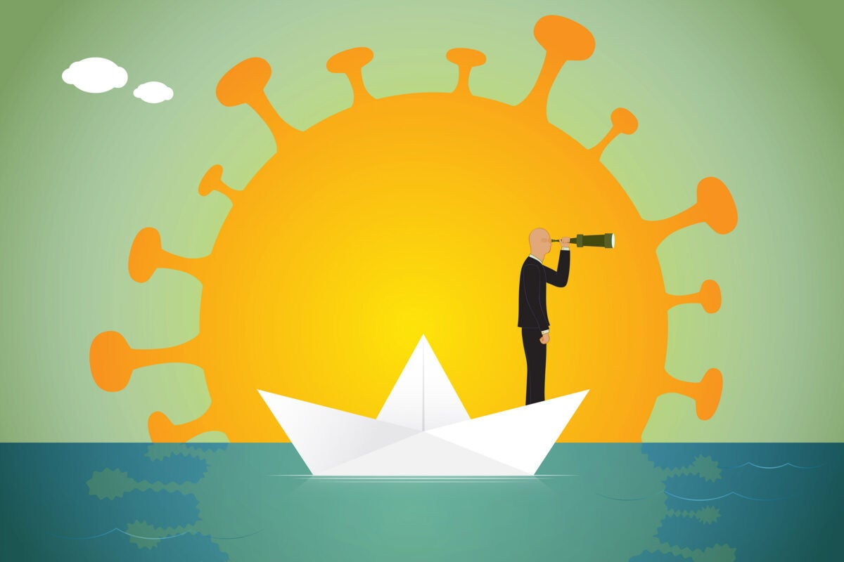 Illustration of person looking through telescope with COVID-shaped sun in background.