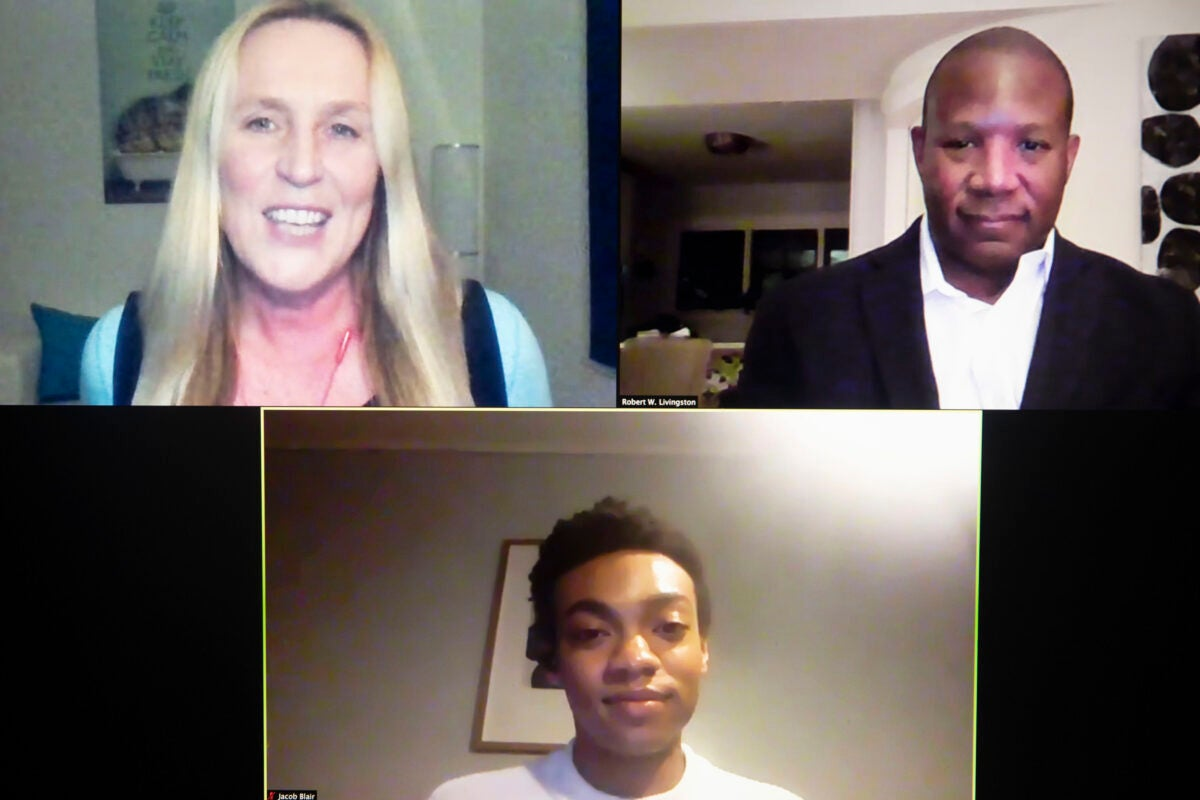Zoom screenshot with Robert Livingston, Iris Bohnet, and Jacob Blair.