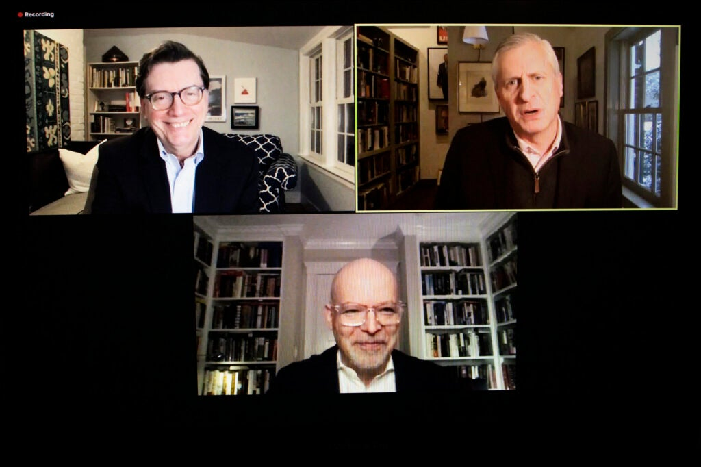 Three men on Zoom screen.
