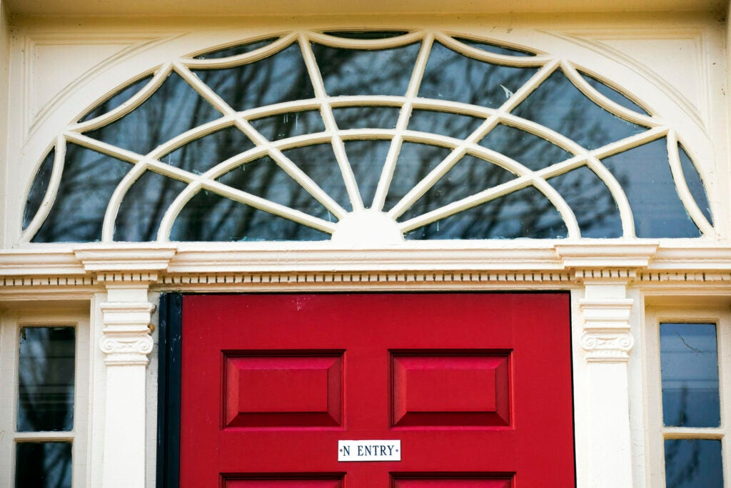 The red entrance to Cabot House is pictured.