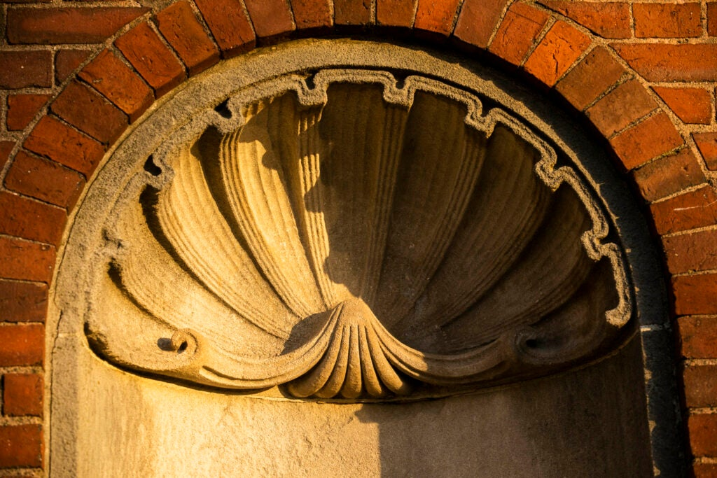 A shell design is pictured along the brick wall of Eliot House.