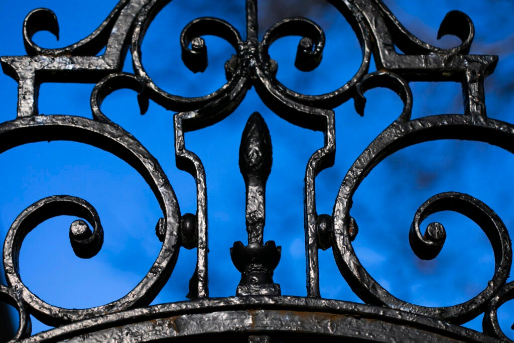 A detail of the elaborate gate is pictured at Kirkland House.