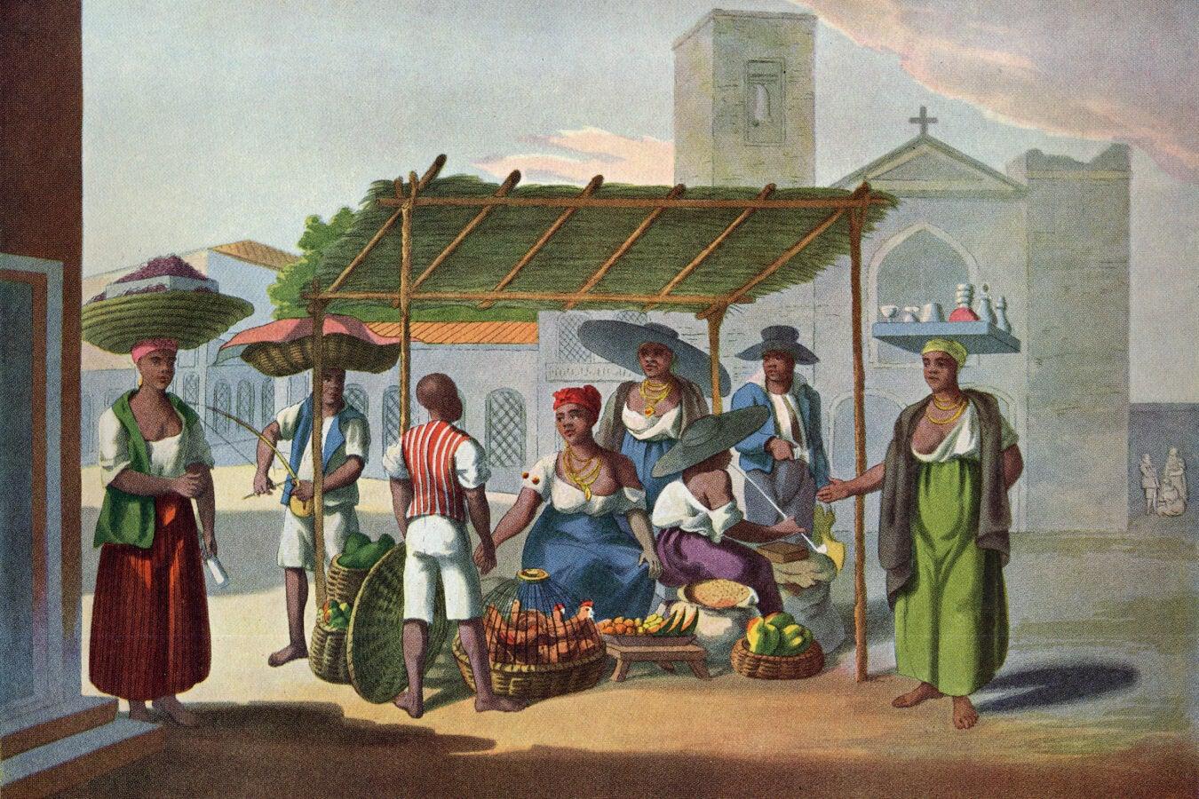 """Market Stall and Market Women, Rio de Janeiro, Brazil, 1819-1820"""