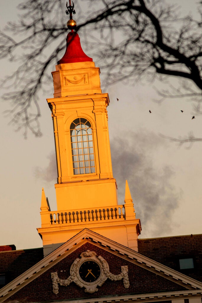 The bell tower at Pforzheimer is pictured.