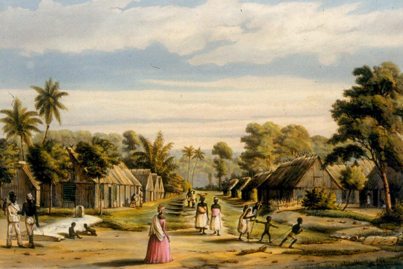 """Plantation Settlement, Surinam, ca. 1860"""