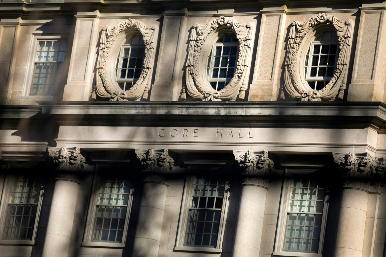 Gore Hall's limestone columns recall the late-17th century garden façade of Sir Christopher Wren's Hampton Court.