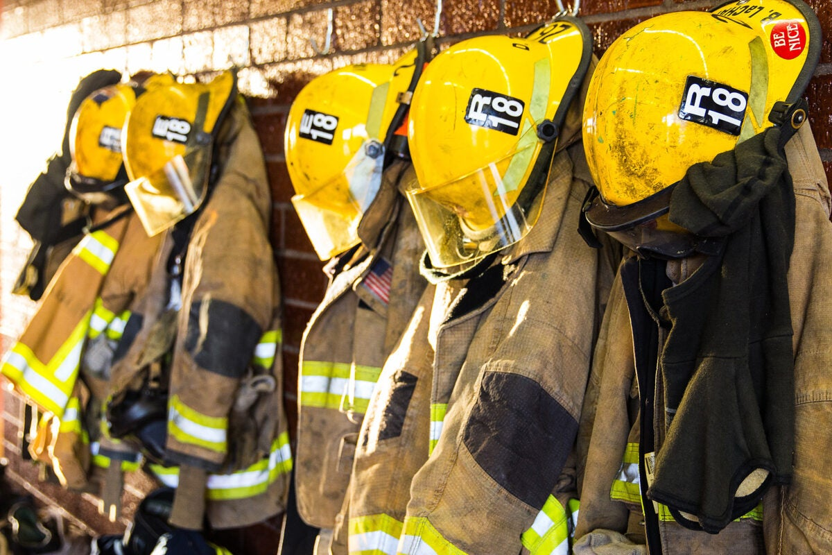 Fire fighters' uniforms.