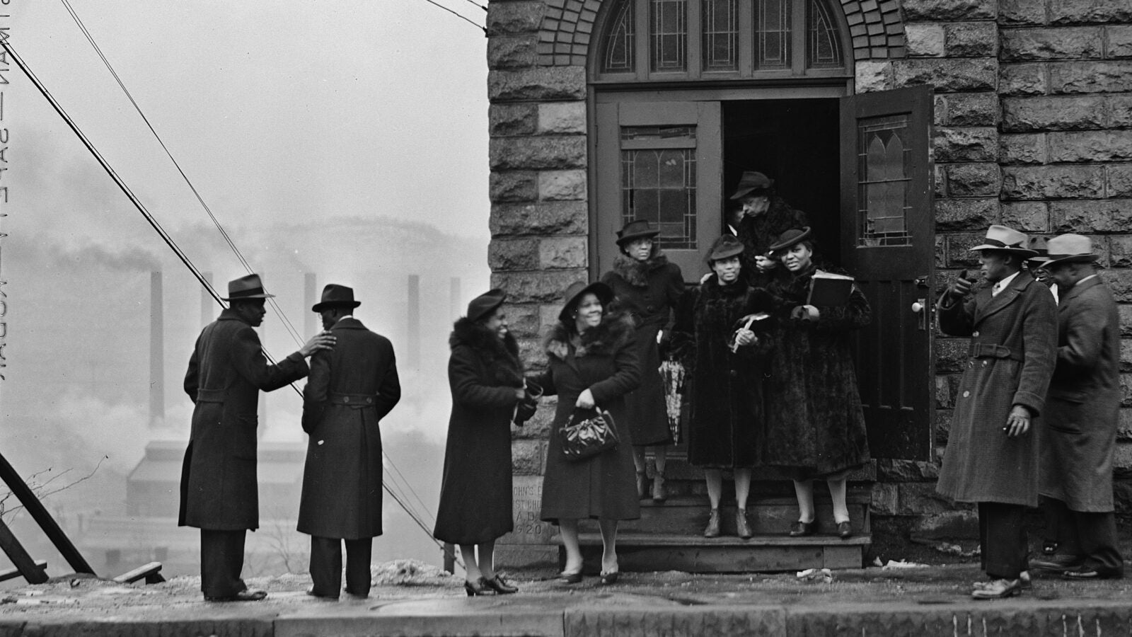 A congregation exiting a church in Pittsburgh.