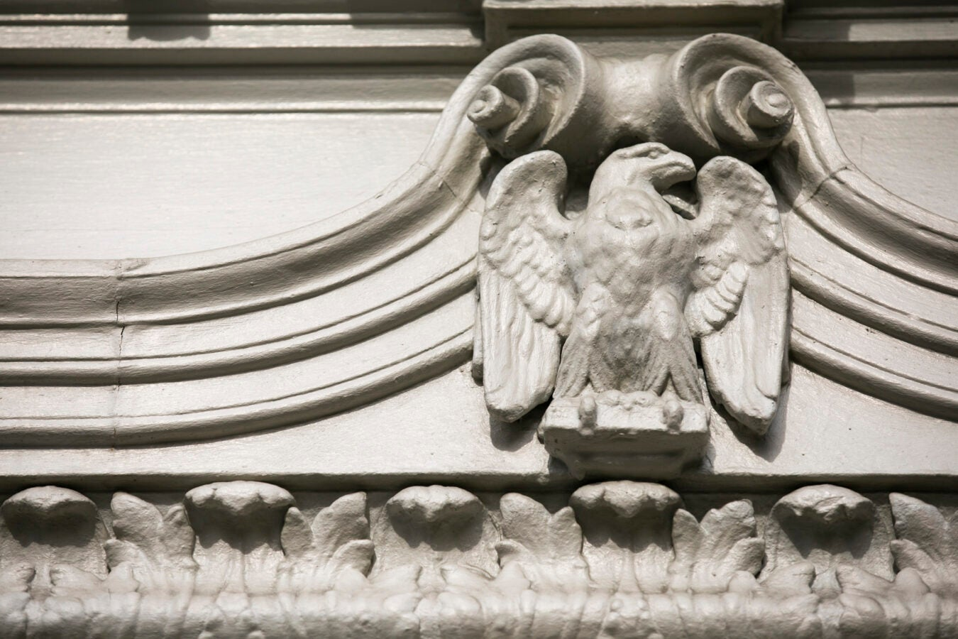 An eagle decorates the exterior of Leverett House.
