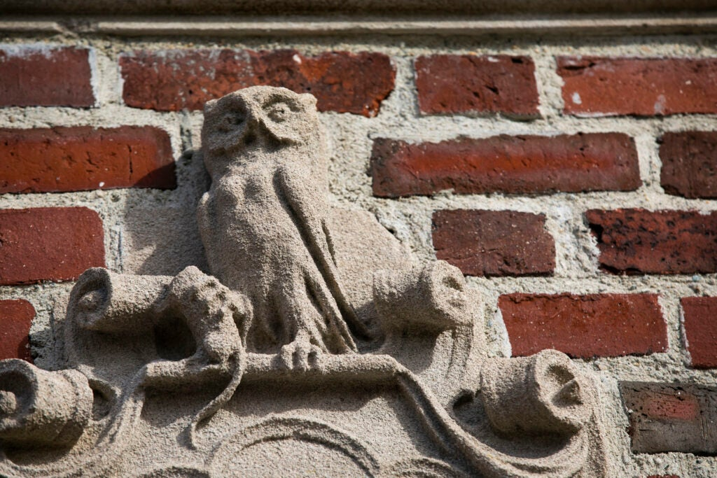 An owl decorates the gate surrounding Winthrop House.