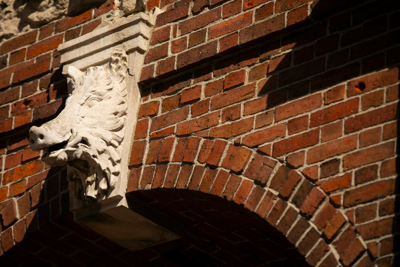A boar head protrudes above the archway of the Joseph McKean Gate.