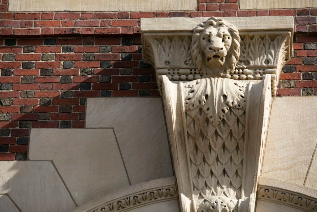 A lion head decorate the entrance above Claverly Hall.