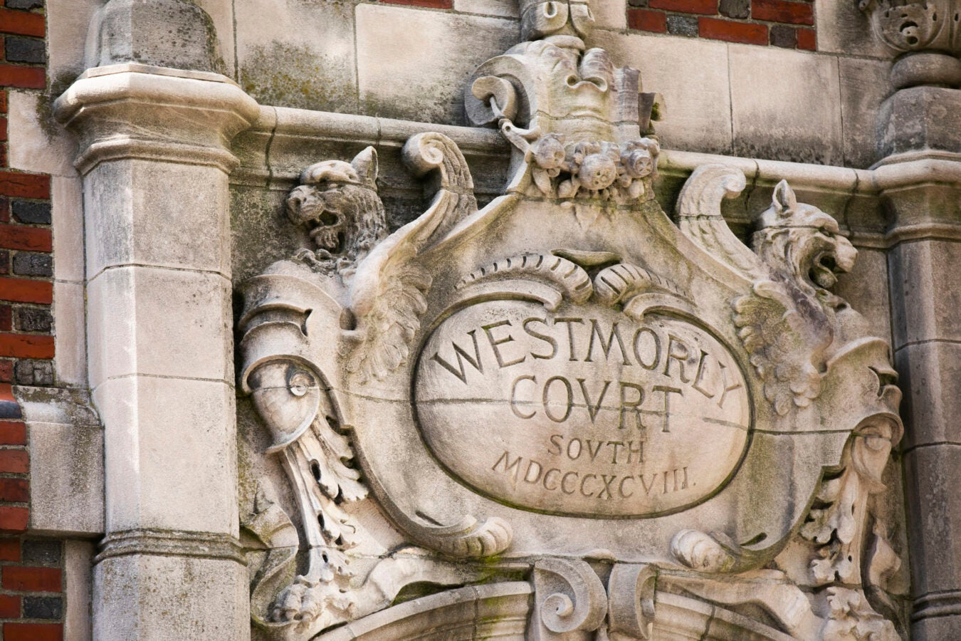 Griffins abound along the Bow Street entrance to Westmorly Court at Adams House.