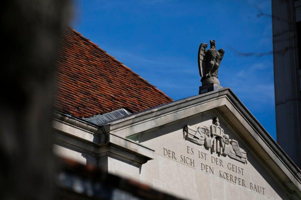 An eagle adorns Adolphus Busch Hall.