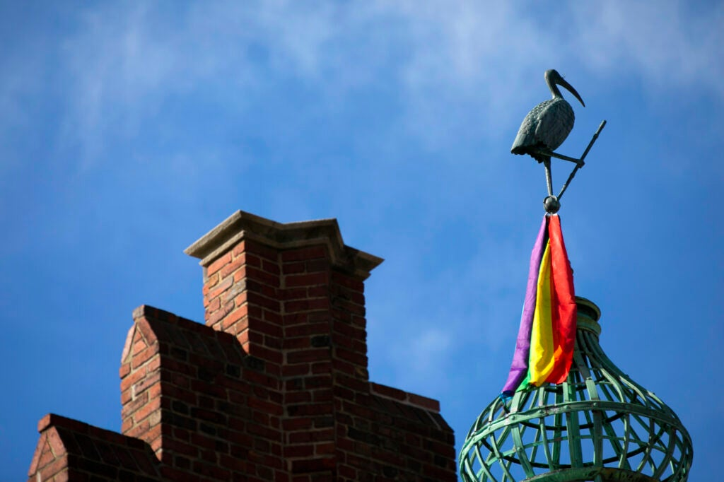 A pelican decorates the Harvard Lampoon building.