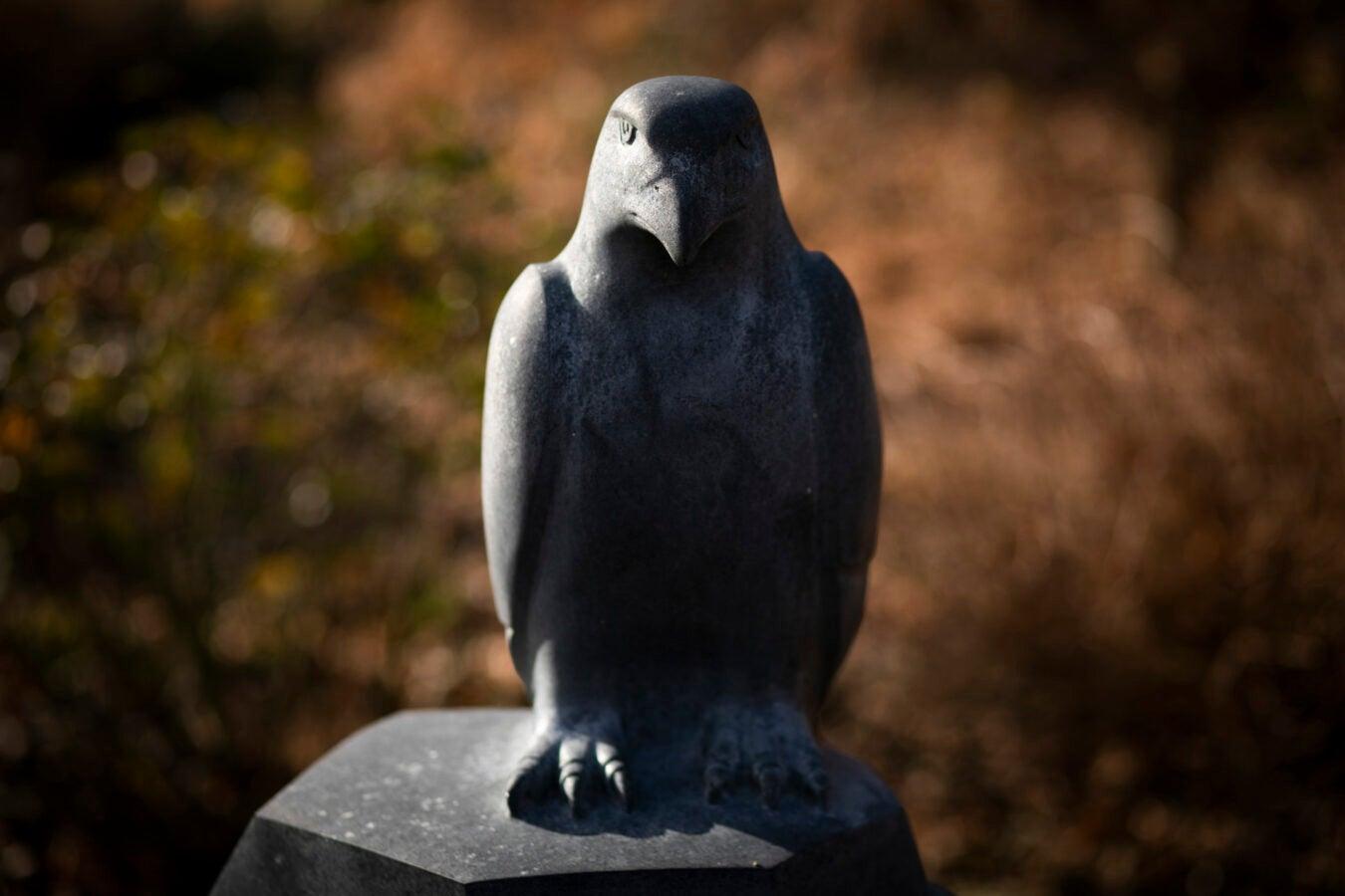 A hawk sculpture decorates the Nieman Foundation garden.