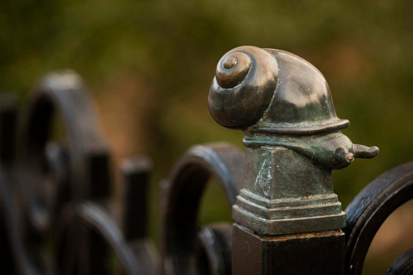 A snail decorates a fence in Quincy Square.