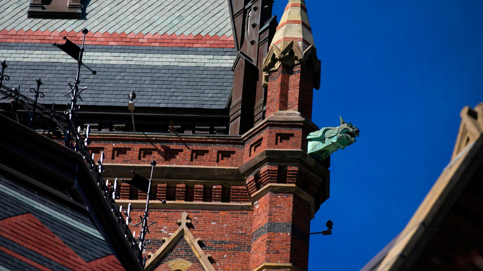 A gargoyle sheathed in copper decorates Memorial Hall's Gothic Revival tower.