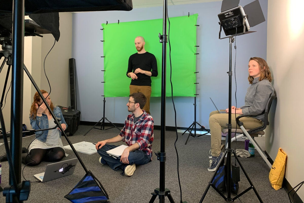 Studio for filming sign language.