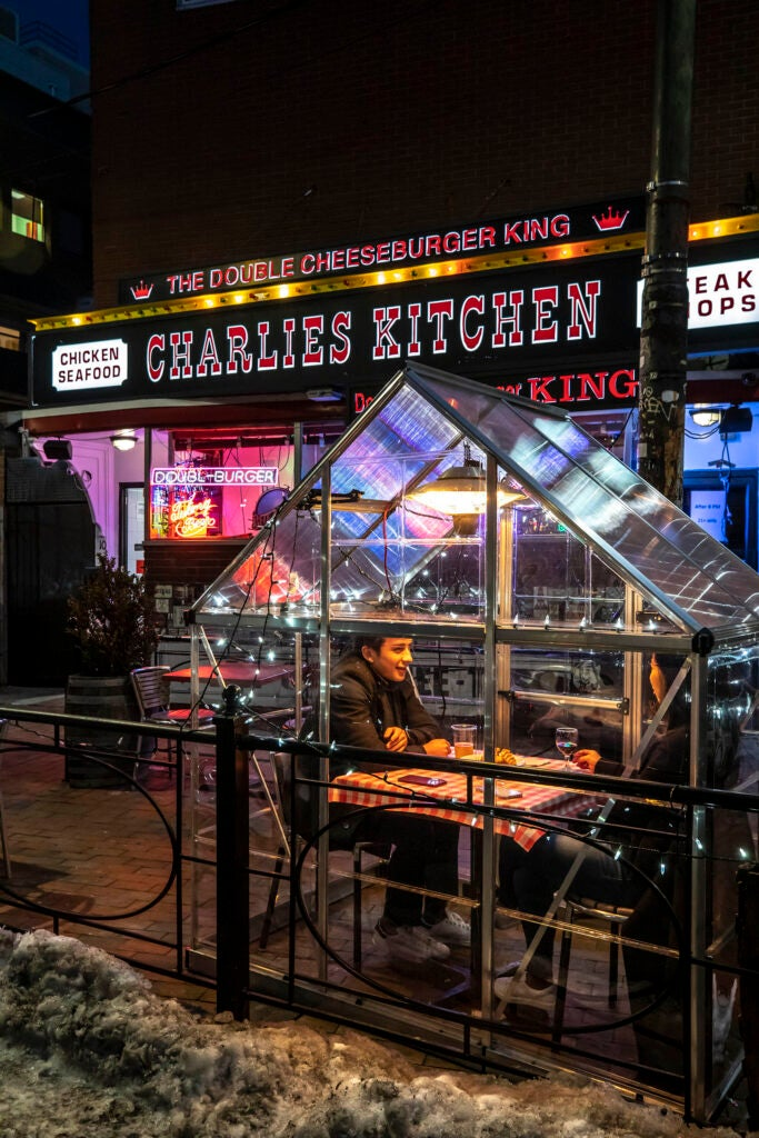 An outdoor pod is pictured on Eliot Street outside Charlie's Kitchen.