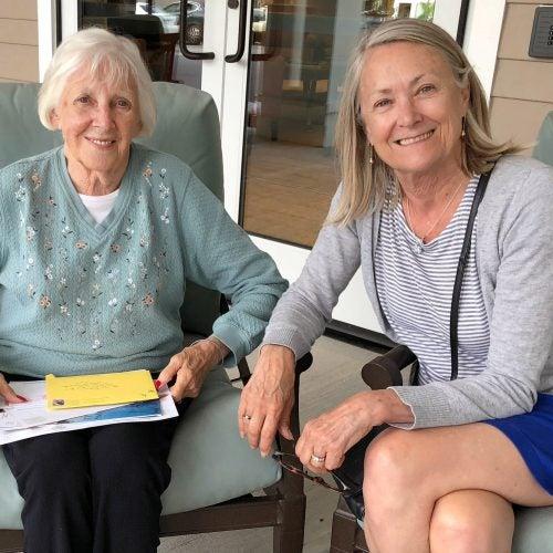 Kathy and her mother enjoying nice weather.