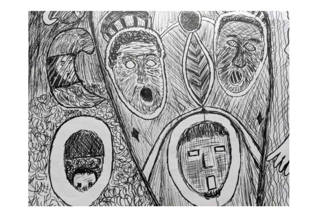 """And Mari Megias' ink drawing """"Pandemic"""" is a collection of floating faces, their mouths agape."""
