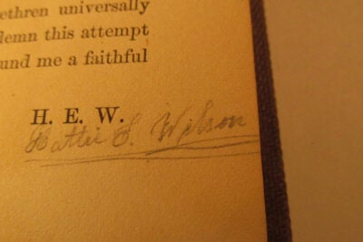 Signature on book