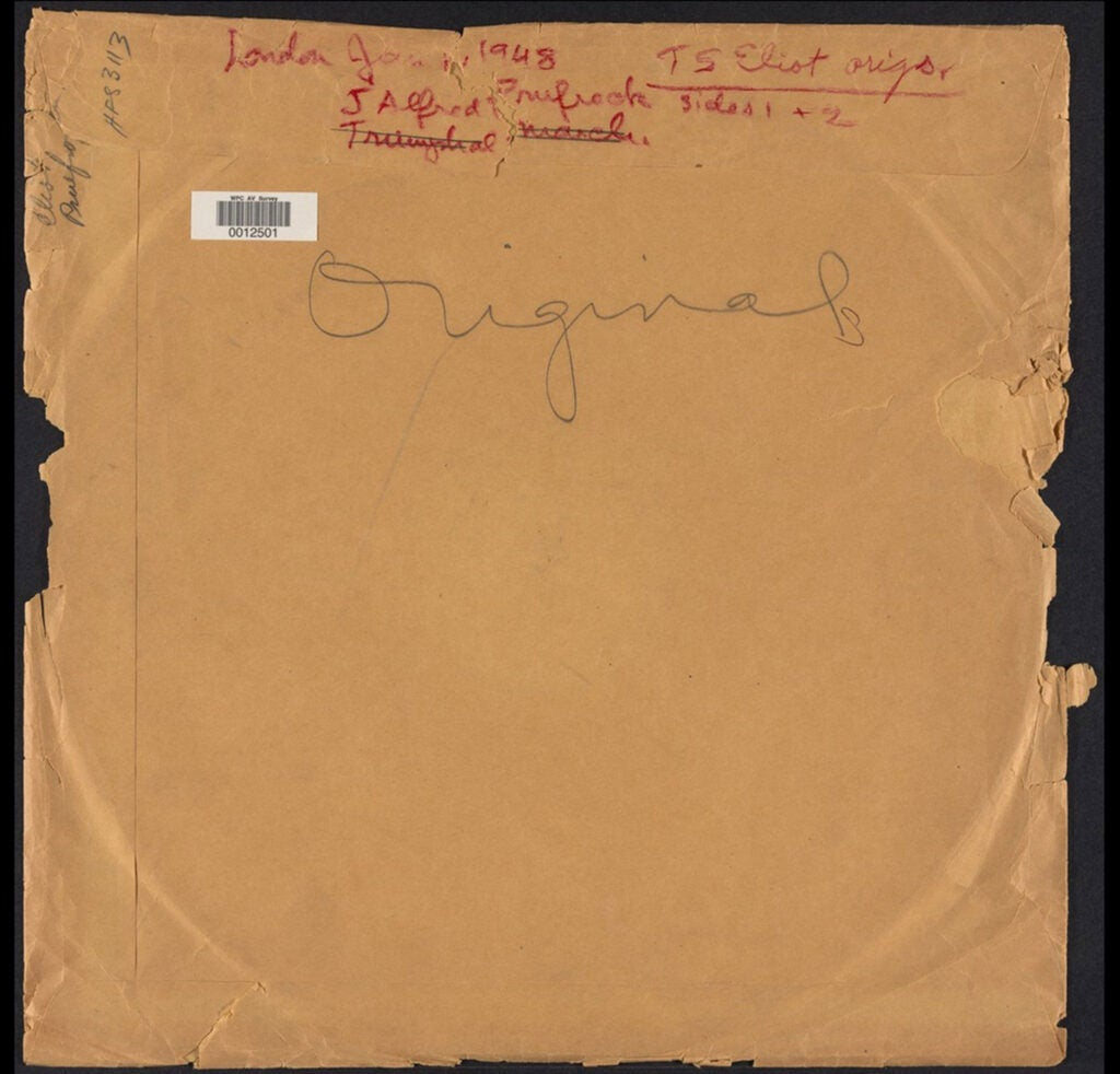 Sleeve to T.S. Eliot record.