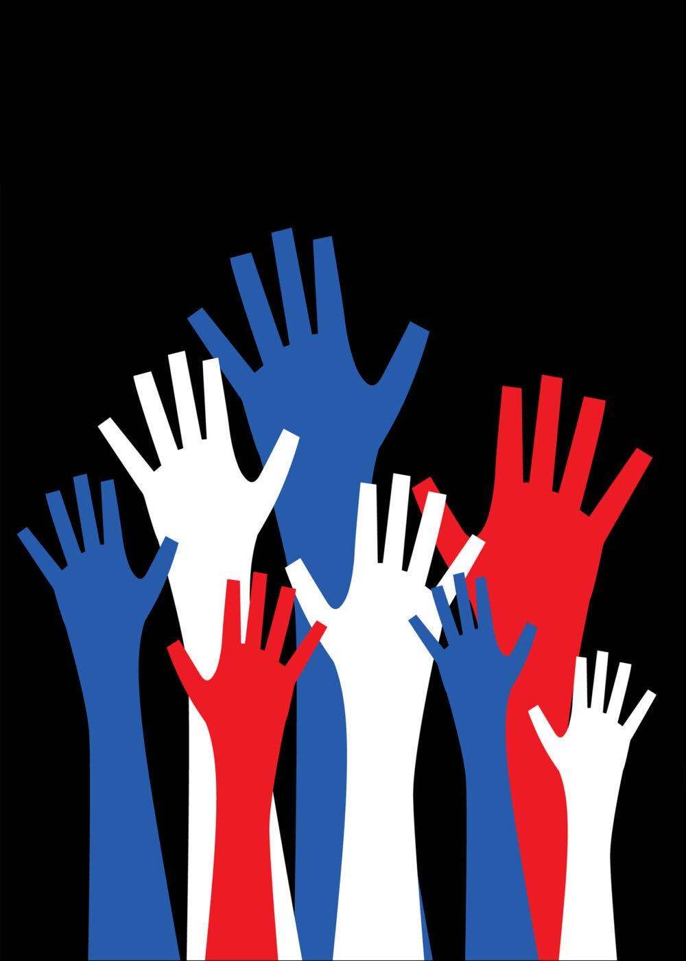 Raised hands illustration.