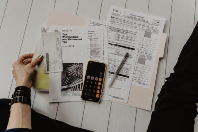 Overhead view of tax documents.