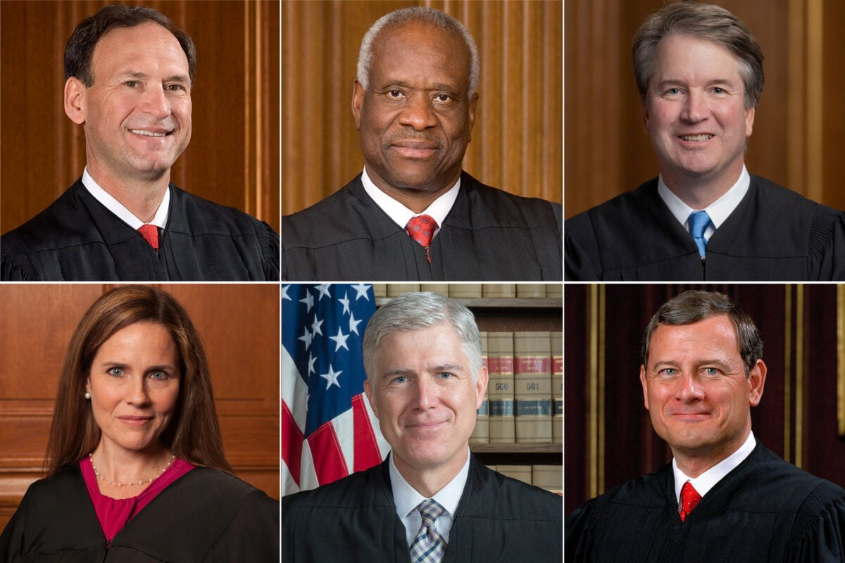 Supreme Court Justices Samuel Alito, Clarence Thomas, Brett Kavanaugh, Amy Coney Barrett, Neil Gorsuch, and John Roberts.