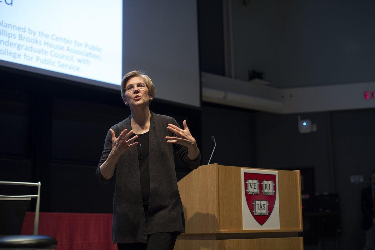 Elizabeth Warren speaking at an event.