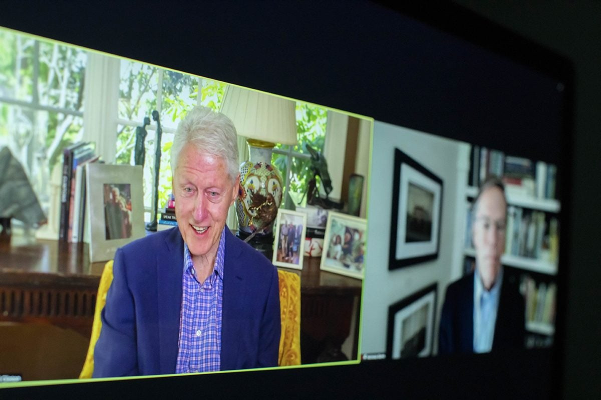 Bill Clinton and Nick Burns on Zoom.