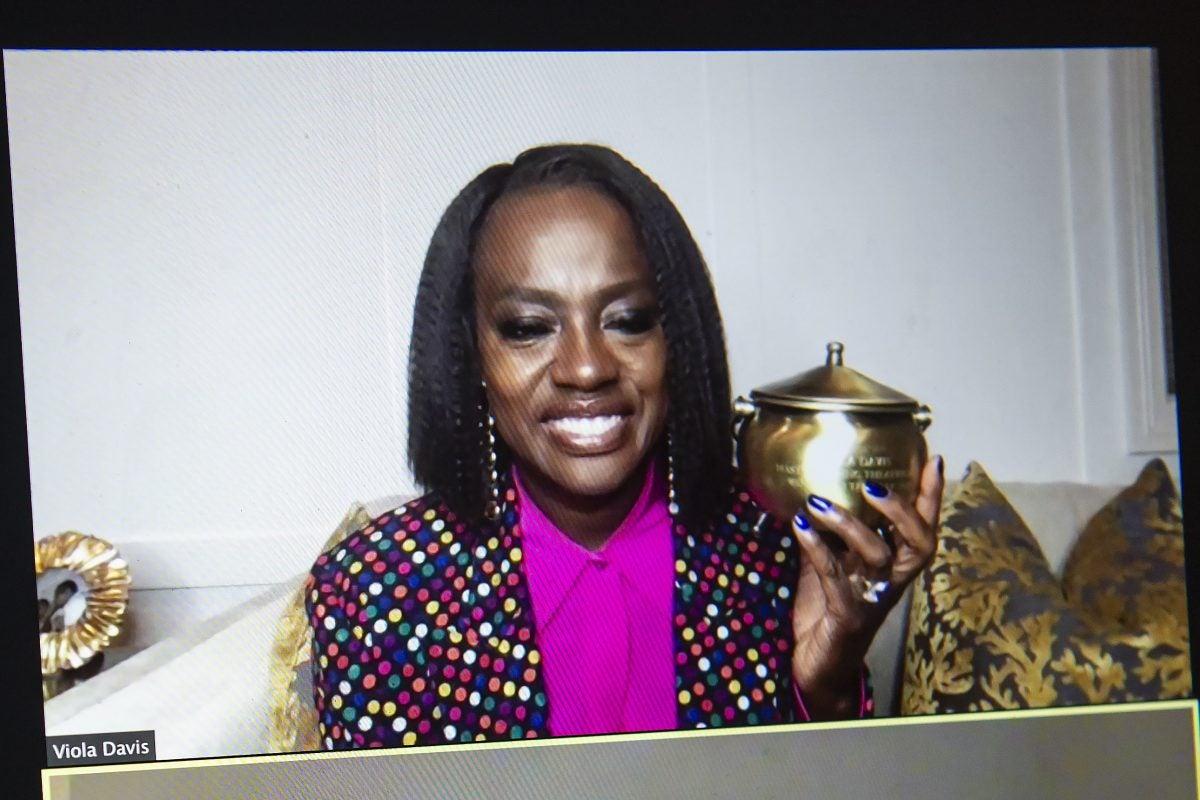 Viola Davis holding the Pudding Pot.