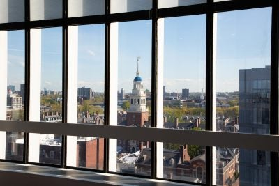 View of Harvard campus from a window.