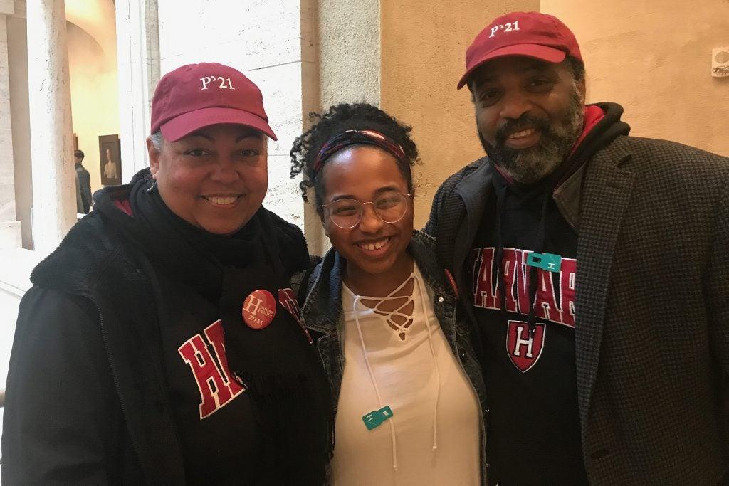 Davis and her parents during Harvard's Junior Parents Weekend.
