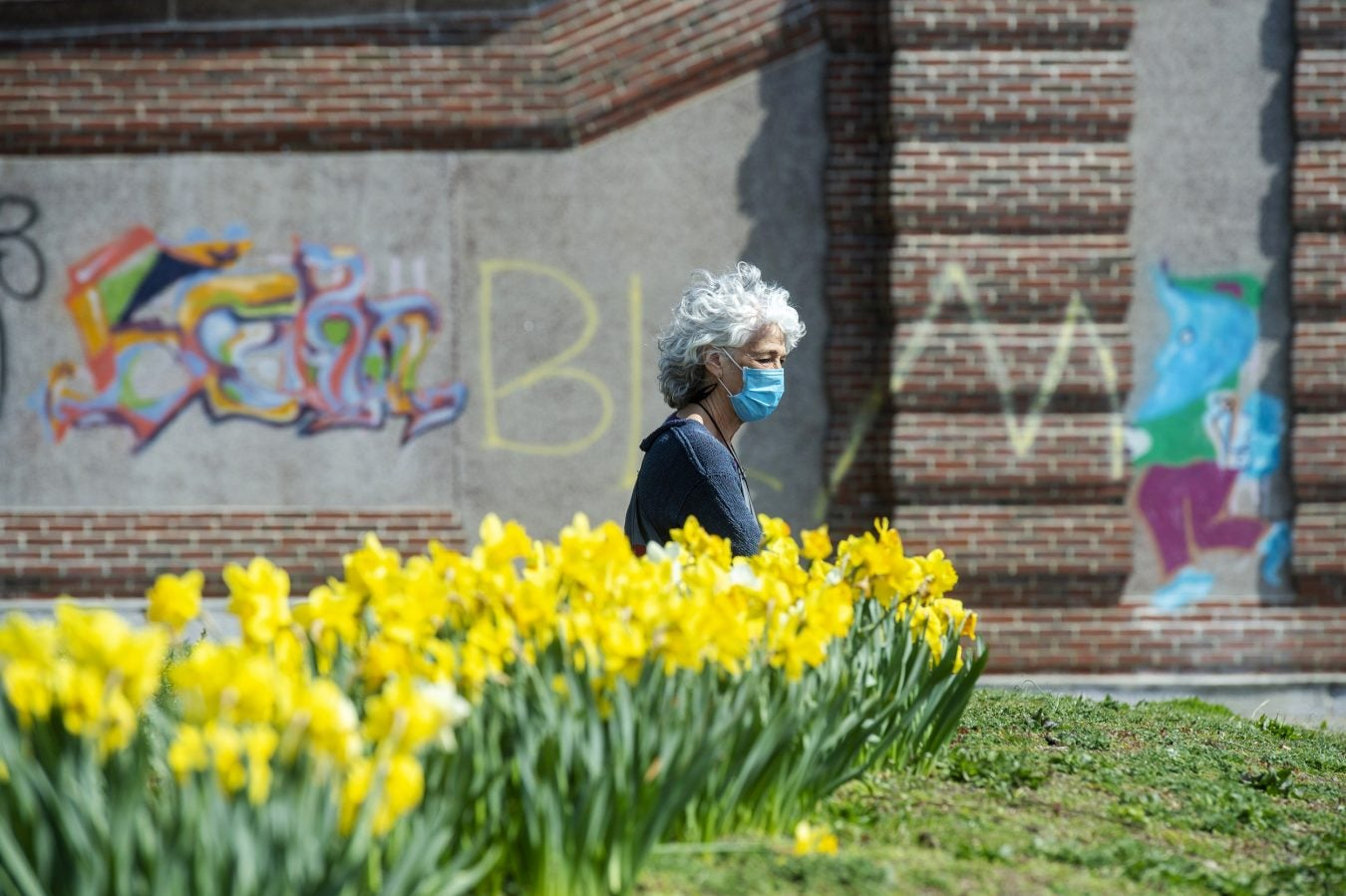 Cambridge resident Amy Rugel soaks up some sun by a row of daffodils at the Anderson Memorial Bridge.