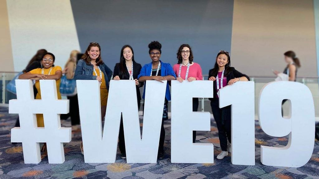 Davis (left) with classmates at the Society of Women Engineers Conference in Anaheim, Calif.