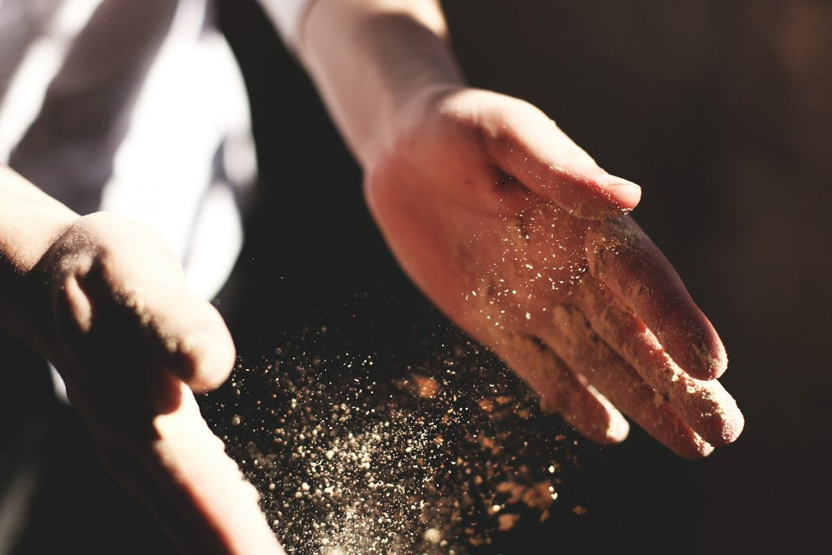Dusty hands.